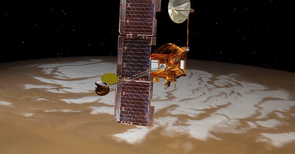 25.jul.2012 - A concepção artística, divulgada pela Nasa (agência espacial americana), mostra a nave que pousará o robô Curiosity em Marte passando no polo sul do planeta. Segundo a agência, a nave está na órbita correta para colocar o jipe robô que irá explorar Marte por dois anos