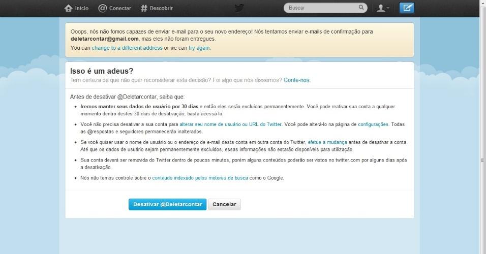 Deletar Twitter