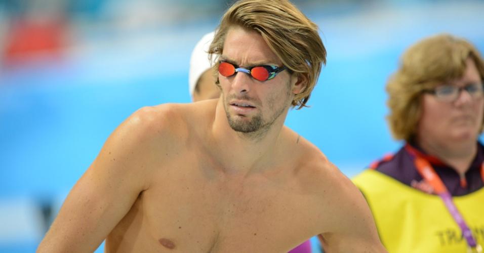 Camille Lacourt, nadador francês, participa de treino no centro aquático de Londres (26/07/2012)