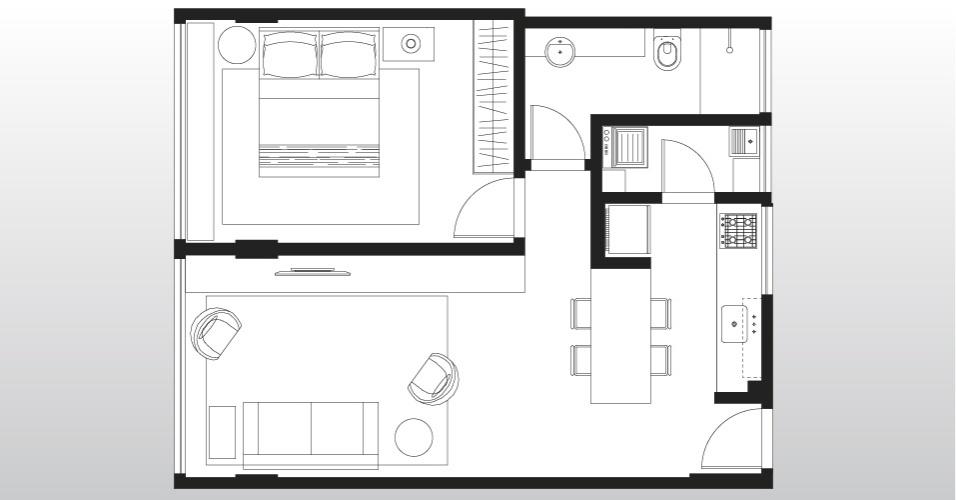 Com apenas 43 m², o Apartamento 43, em São Paulo, perdeu uma de suas paredes - entre a cozinha e a sala - e ganhou em amplitude. São, agora, apenas quatro cômodos bem divididos