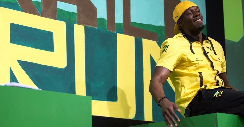 Em evento desta quinta-feira promovido pelo Comitê Olímpico e por uma fornecedora de material esportivo, Usain Bolt foi anunciado como porta-bandeira da Jamaica na abertura da Olimpíada (26/07/2012)