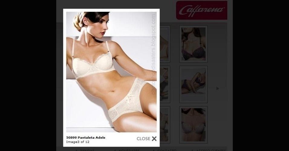 Em homenagem ao Lingerie Day 2012, eis um exagero ''sutil'' no retoque feito no Photoshop. A modelo tem uma cintura bem fina... só que a sombra do corpo denuncia o real contorno do corpo