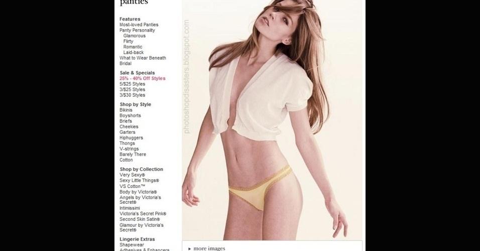 Em homenagem ao Lingerie Day 2012, mais um desastre no Photoshop. A modelo ficou sem dedos na mão esquerda
