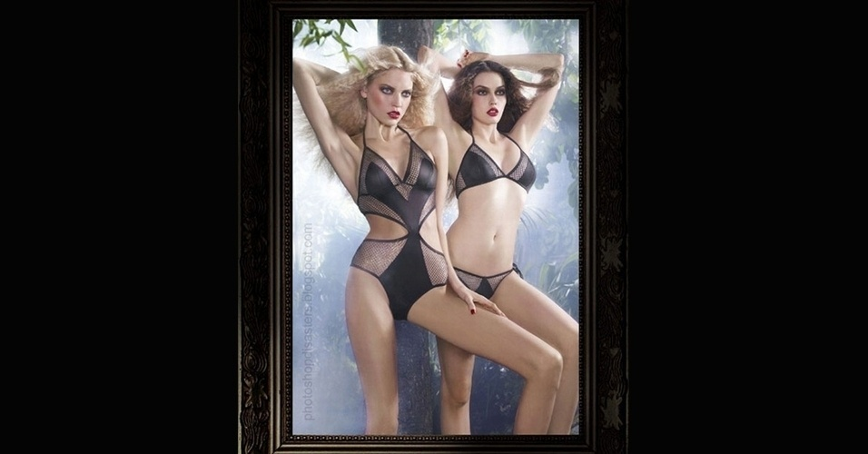 Em homenagem ao Lingerie Day 2012, outro retoque exagerado no Photoshop. A foto mostra duas modelos magérrimas: repare na loira, que apoia a mão gigante sobre a perna