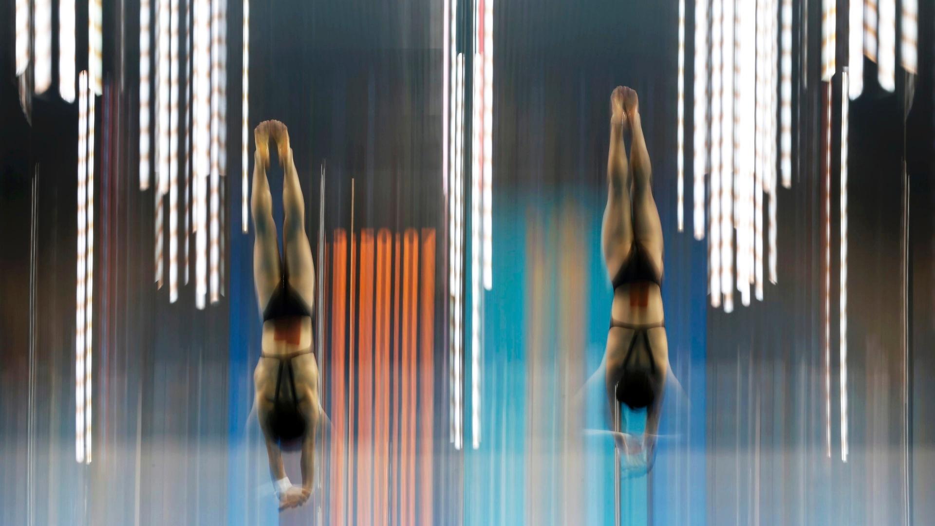 Saltadores treinam no centro aquático de Londres-2012