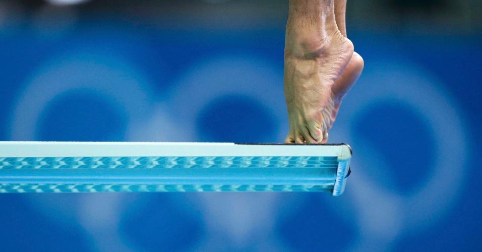Treino de saltos ornamentais no centro aquático de Londres-2012