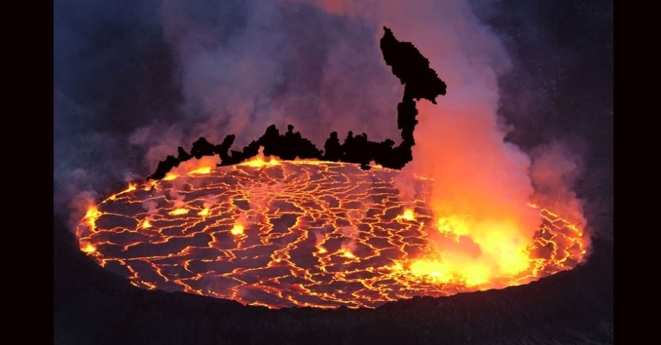 27.jul.2012 - A missão coletou amostras da lava do vulcão para entender as atividades geológicas do planeta