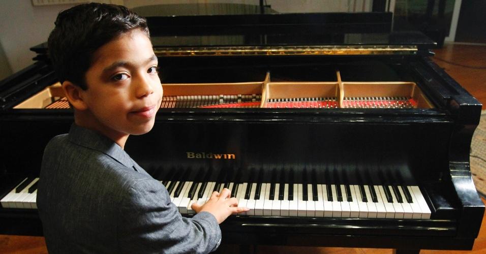 27.jul.2012 - O pianista Ethan Bortnick, 11, foi eleito pelo Livro dos Recordes como o músico solo mais jovem do mundo a ter sua própria turnê