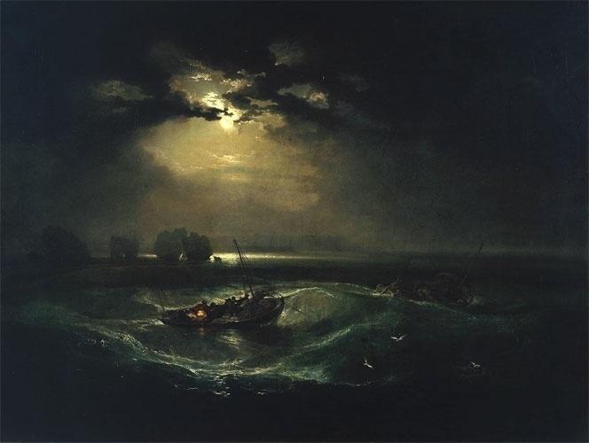 """A luz era o foco de Joseph Mallord William Turner, o mais célebre dos pintores ingleses da virada dos séculos XVIII e XIX. Era a luz que ele pretendia fixar em seus quadros, ressaltando-a até em cenas noturnas, como se vê nessa obra de 1796, intitulado """"Pescadores no mar"""". Turner tornou-se profissional aos 10 anos de idade, quando ganhava dinheiro colorindo gravuras de outros artistas. Aos 15, já era uma celebridade. Hoje as obras de Turner custam milhões de euros."""