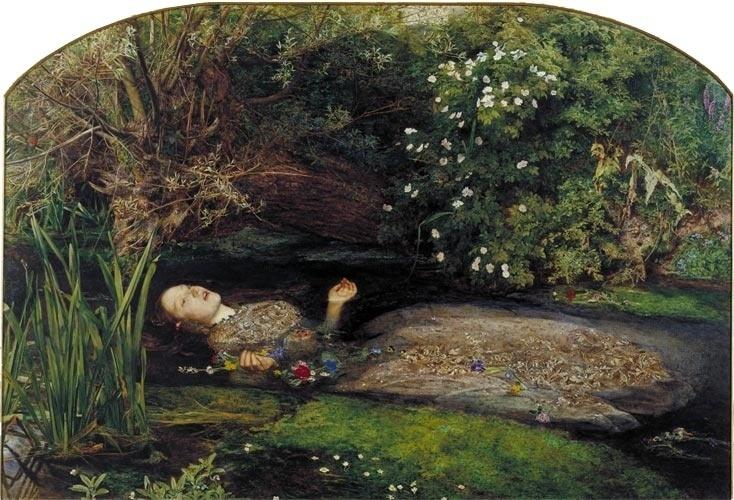 """A morte de Ofélia, afogada, em provável suicídio, no quarto ato de """"Hamlet"""", de Shakespeare, inspirou muitos artistas românticos ingleses, como John Everett Millais, no quadro acima. Millais foi um dos expoentes do grupo de pintores conhecidos como Pré-Rafaelitas, que queriam resgatar os valores da pintura Medieval anterior ao Renascimento. A modelo de Millais para este quadro foi Elisabeth Siddal, casada com outro pintor pré-rafaelita, o anglo-italiano Dante G. Rossetti."""