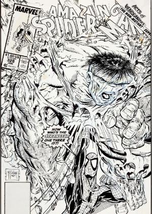 """Arte da capa do número 328 de """"O Espetacular Homem-Aranha"""", da Marvel, feita por Todd McFarlane (2/7/12) - AP/Heritage Auctions"""