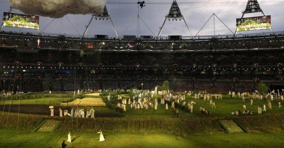 Artistas representam Londres na época rural durante cerimônia de abertura dos Jogos Olímpicos