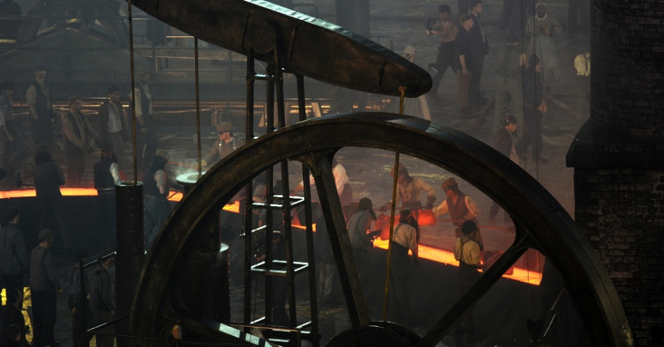 Cenário representa fábricas inglesas durante período da Revolução Industrial