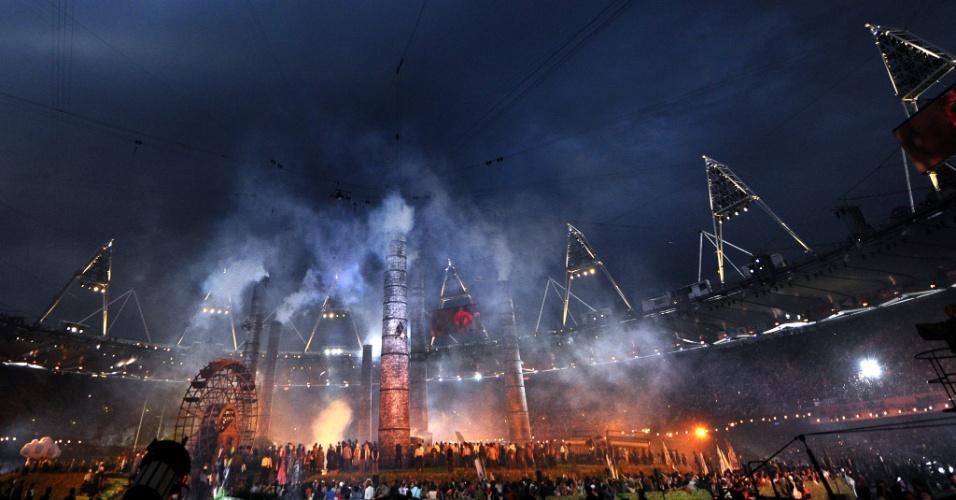 Cenário representa indústrias na cidade de Londres