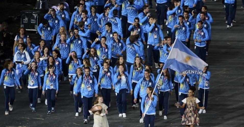 Delegação argentina desfila durante cerimônia de abertura dos Jogos Olímpicos de Londres