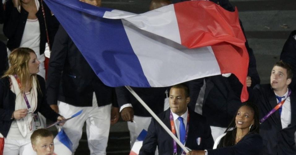 Delegação francesa durante desfile na cerimônia de abertura dos Jogos Olímpicos de Londres