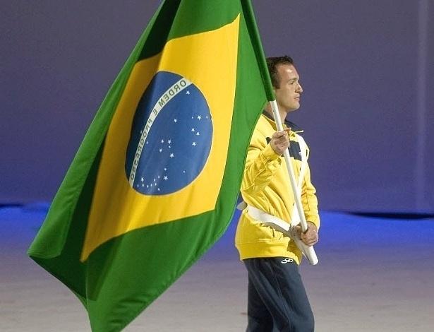 Diego Hypólito como porta-bandeira no Pan do México