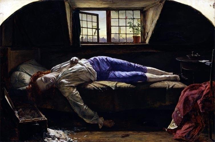 O poeta inglês Thomas Chatterton envenenou-se com arsênico aos 17 anos e seu suicídio teve na época uma repercussão semelhante ao de Kurt Cobain. Das várias obras que puseram em foco a morte de Chatterton, a mais célebre é a de autoria de Henry Wallis (acima), pintor também ligado ao grupo Pré-Rafaelita. A morte e o suicídio instigavam a imaginação dos artistas de meados do século XIX, no mundo todo, inclusive no Brasil, como exemplifica a obra de Álvares de Azevedo.