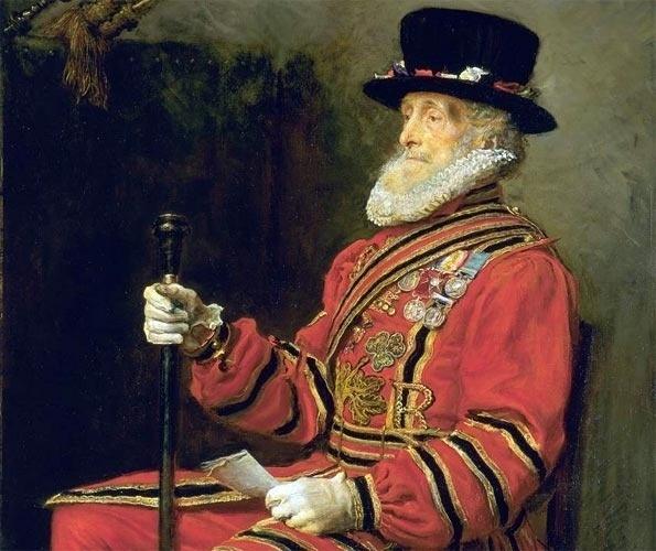 """Quem vai à Torre de Londres ainda hoje vai deparar com os chamados """"beefeaters"""" ou """"yeoman"""", que constituem a sua guarda e também atuam como anfitriões na visitação do local. Muito antes de os """"beefeaters"""" se transformarem em guias turísticos, eles participavam das ações do exército imperial britânico. Entre os heróis dessa corporação no século XIX, encontrava-se John Charles Montague, aqui retratado pelo pintor pré-rafaelita John Everett Millais."""