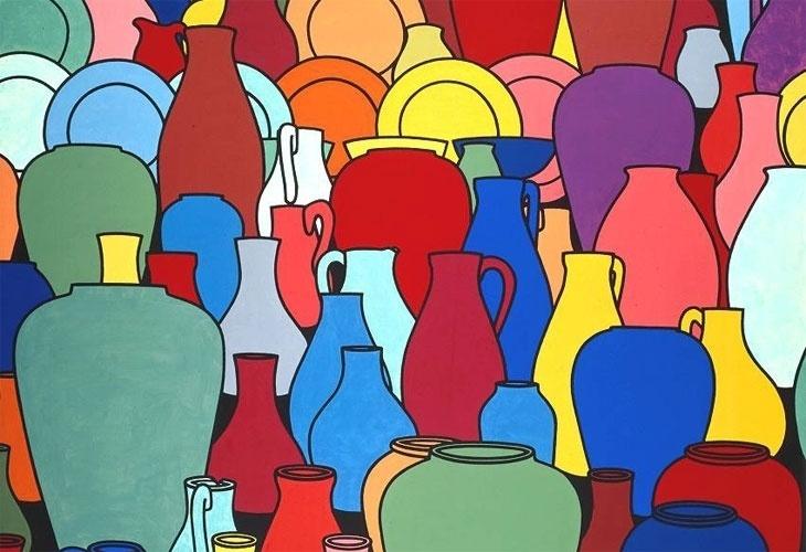 Se a arte inglesa é marcada por uma concepção tradicionalista, os artistas modernos se destacam por unir a tradição à ousadia, como neste quadro de Patrick Caulfield, em que o desenho realista contrasta com as cores fortes, numa composição característica da pop-art. No entanto, Caulfield, que faleceu em 2005, aos 69 anos, não gostava de se ver vinculado a nenhum movimento artístico. Sobre esse quadro, ele escreveu que a imagem era só um pretexto para ele soltar as cores.