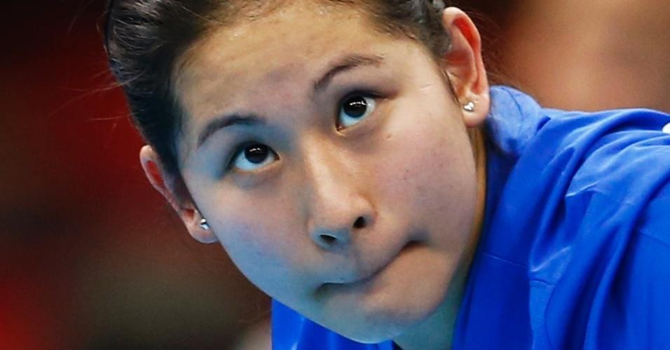 Após passar pela fase preliminar, a mesa-tenista Caroline Kumahara perdeu para a britânica Joanna Parker