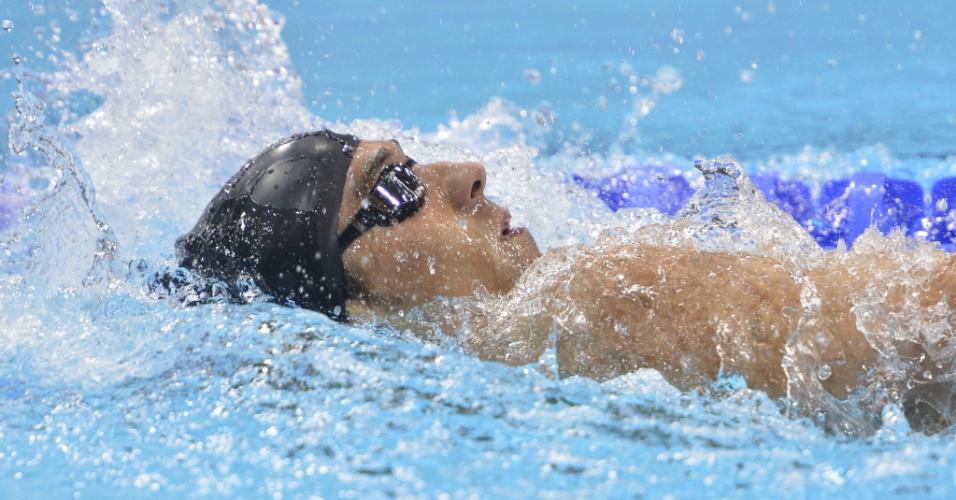 Michael Phelps durante final dos 400m medley masculino; o norte-americano ficou fora do pódio, ao terminar a prova em quarto lugar