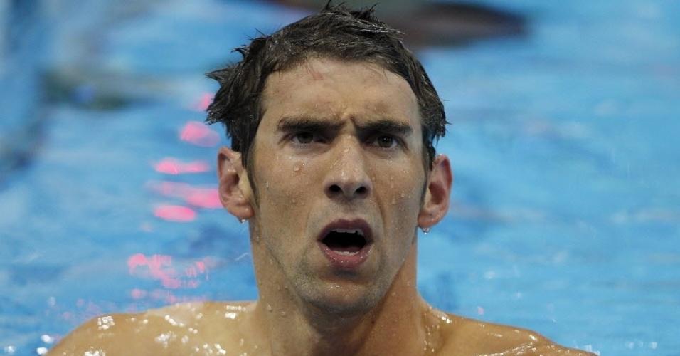 Phelps faz careta ao conferir resultado da prova dos 400 m medley nas Olimpíadas de Londres