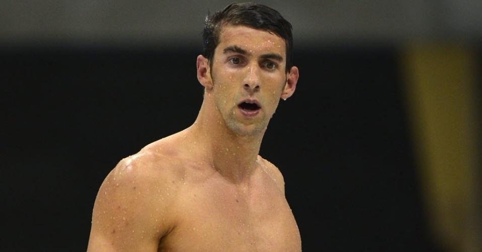 Phelps mostra decepção após ficar fora do pódio nos 400 m medley em Londres 2012
