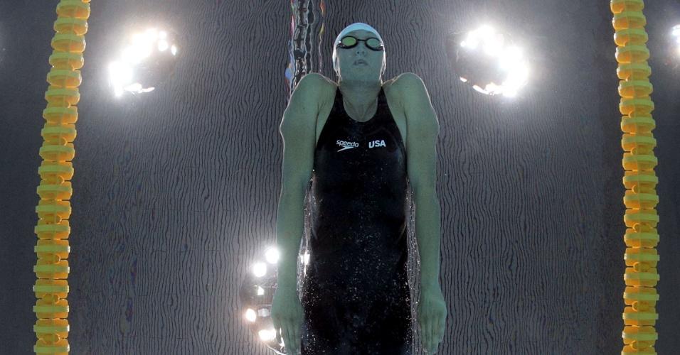 A norte-americana Breeja Larson durante sua participação nos 100 m peitos