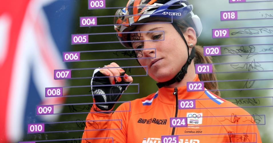 Annemiek Van Vleuten assina seu nome em painel durante competição de ciclismo (29/07/2012)