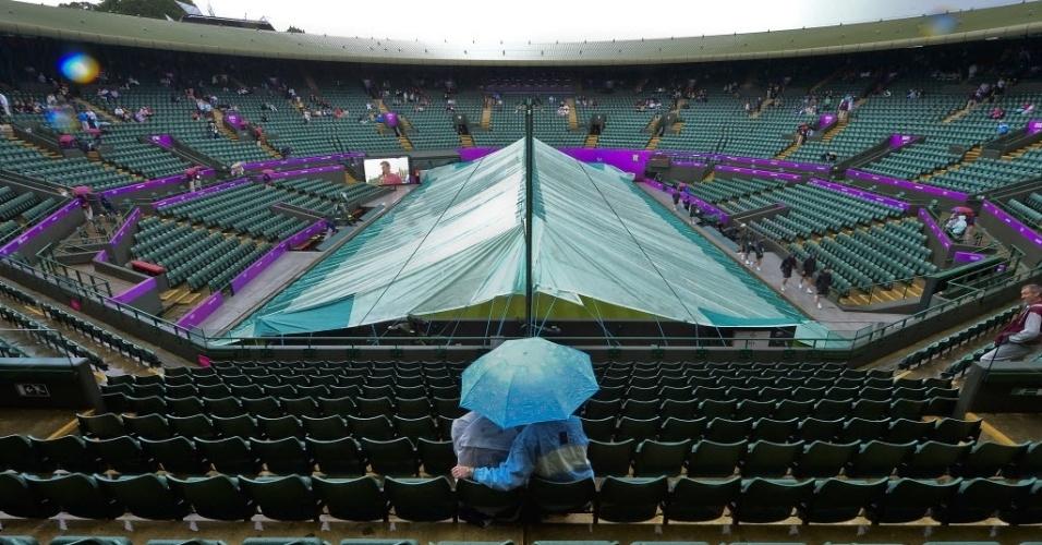 Dupla aguarda sob guarda-chuva a parada da chuva para a retomada das partidas de tênis em Londres, neste domingo