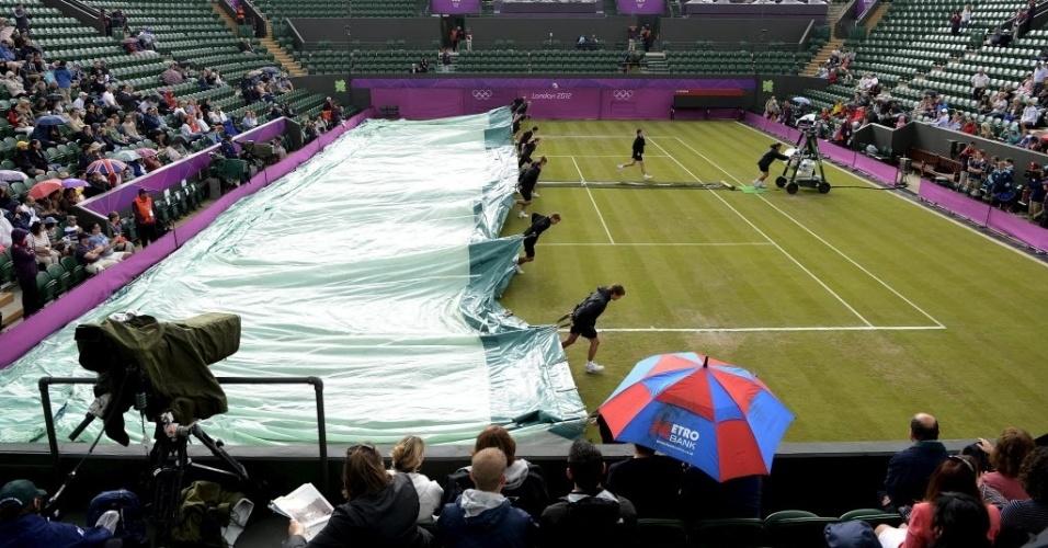 Integrantes da organização do torneio de tênis cobrem quadra devido à chuva em Londres, que vitimou atletas e os torcedores nas arquibancadas