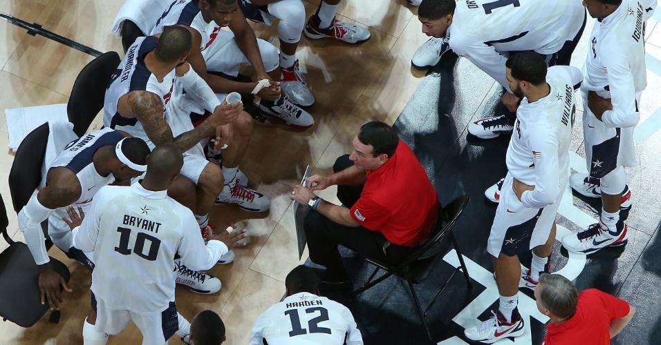 Jogadores dos Estados Unidos ouvem as instruções do técnico Mike Krzyzewski durante o jogo contra a França pelo basquete masculino olímpico (29/07/2012)