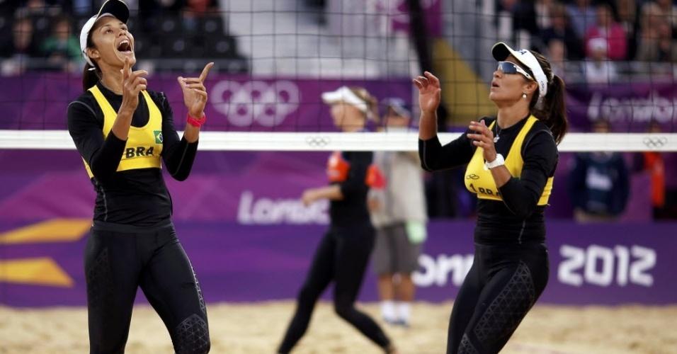 Talita e Maria Elisa não usaram o tradicional biquini na vitória sobre dupla holandesa, na estreia em Londres