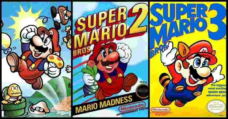 """Até antes de """"Super Mario Bros. 3"""", o personagem Mario vestia roupa azul e suspensório vermelho, ou seja, o contrário do que é hoje. A mudança foi feita sem alarde - Montagem com imagens de divulgação"""