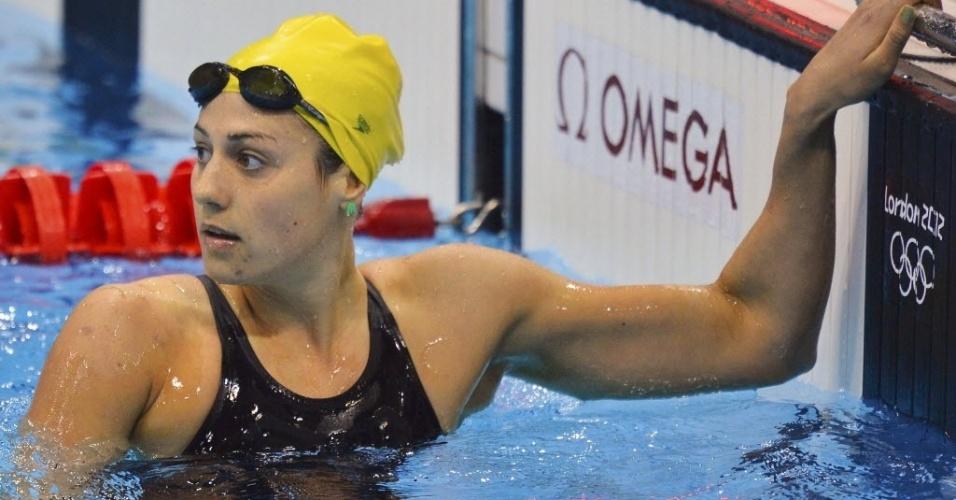 Australiana Stephanie Rice confere tempos após eliminatórias dos 200 m medley nesta segunda-feira (30)