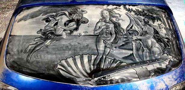 E a habilidade com a sujeira de Wade é tamanha que até obras da pintura clássica foram reproduzidas nas janelas de carros