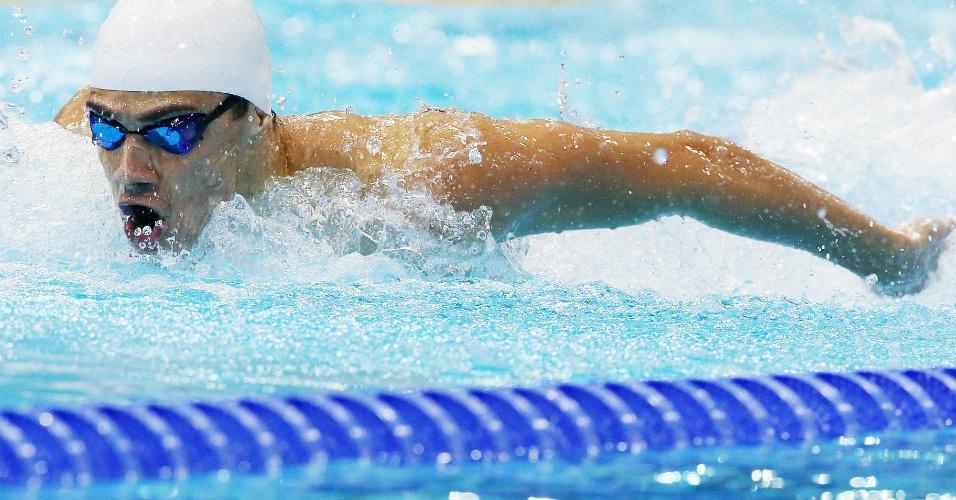 Leonardo de Deus em ação durante a sua participação nos 200 m borboleta