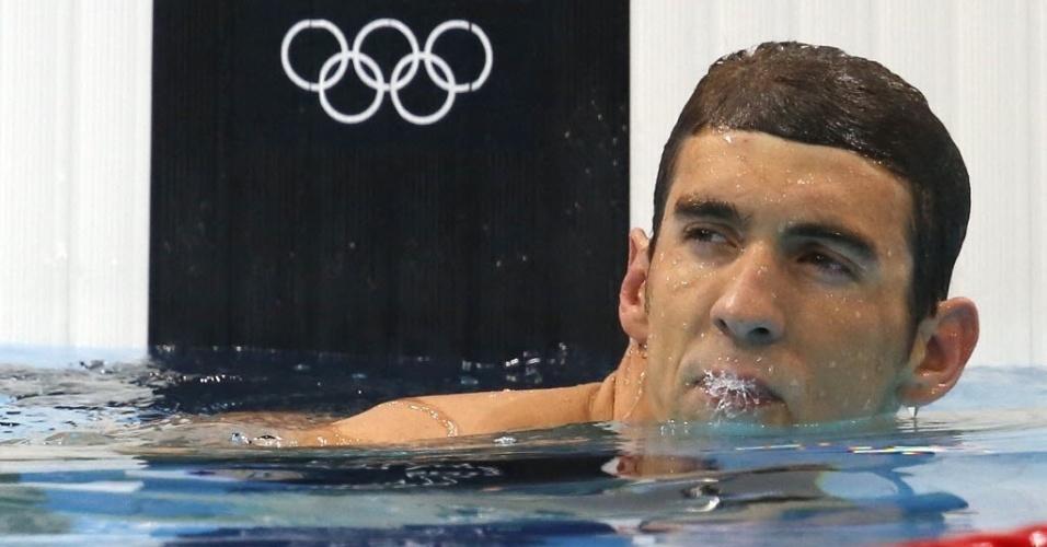 Michael Phelps ficou em terceiro lugar na dua série das eliminatórias dos 200 m borboleta (30/07/2012)