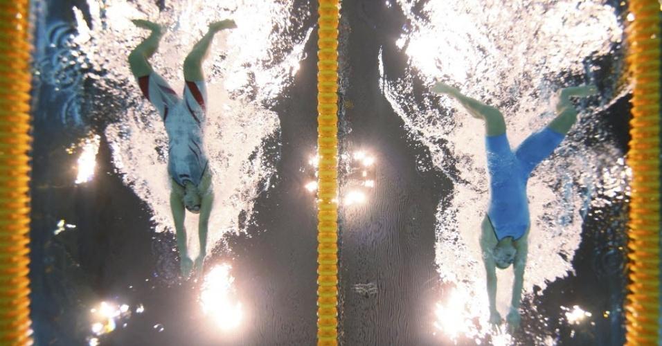 Rebecca Soni (EUA) e Ruta Meilutyte competem na final dos 100 m peito; lituana ficou com a medalha de ouro