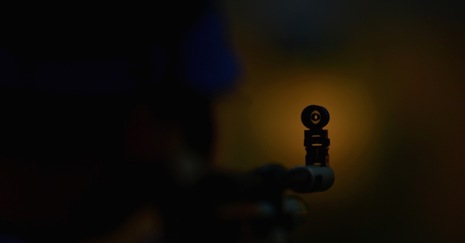 Vista do alvo de um rifle durante a competição de tiro de 10 metros em Londres