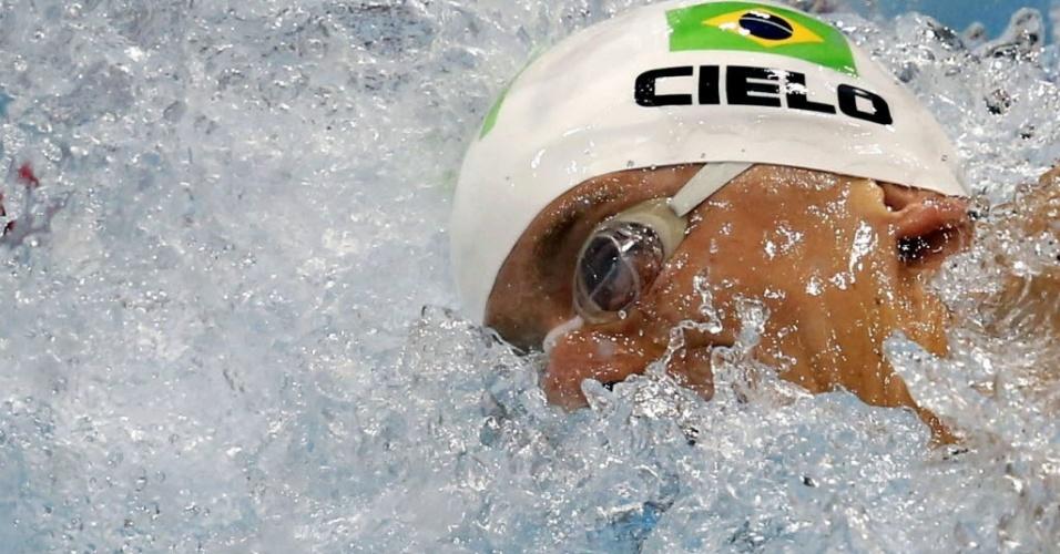 Cesar Cielo nada as eliminatórias dos 100 m livre nos Jogos de Londres