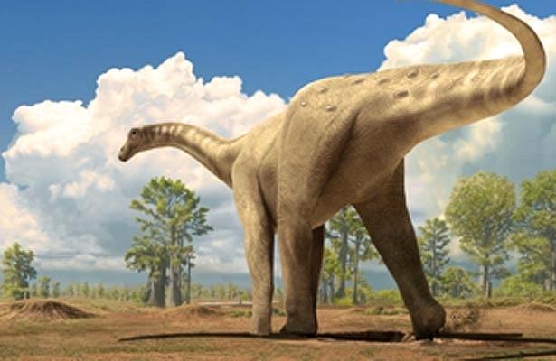 Ilustração mostra um titanossauro