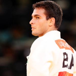 Leandro Guilheiro durante uma de suas lutas; favorito, judoca foi mal e não chegou a brigar por medalha