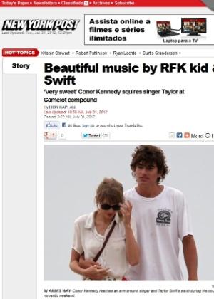 """Na imagem, o """"New York Post"""" publicou foto de Taylor Swift e Conor Kennedy juntos (31/7/12)"""