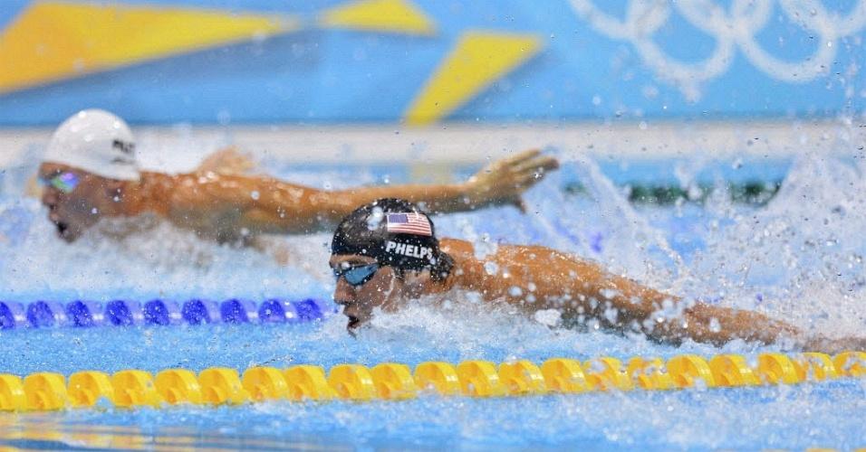 Norte-americano nada ao lado do sul-africano Chad le Clos na prova dos 200 m borboleta (31/07/2012)