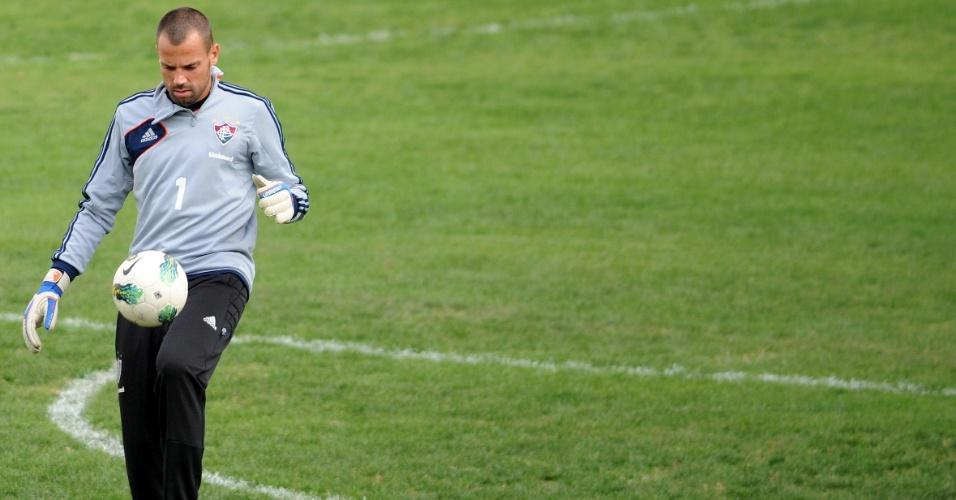 Diego Cavalieri, goleiro do Fluminense, treina nas Laranjeiras
