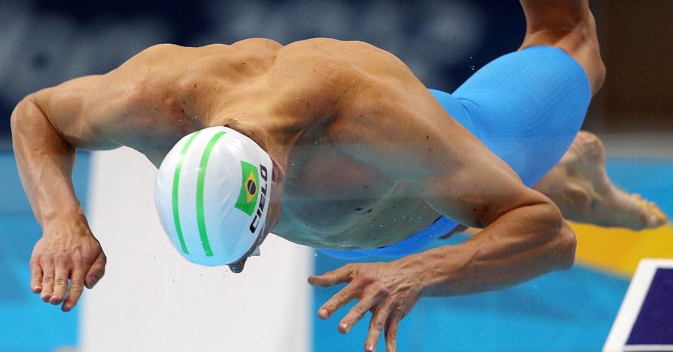 Nadador Cesar Cielo larga para a prova dos 100 metros livres nos Jogos Olímpicos de Londres