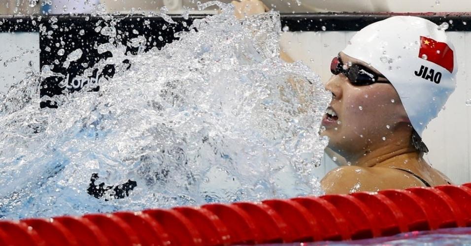 Nadadora Liuyang Jiao, da China, comemora a vitória nos 200 m borboleta