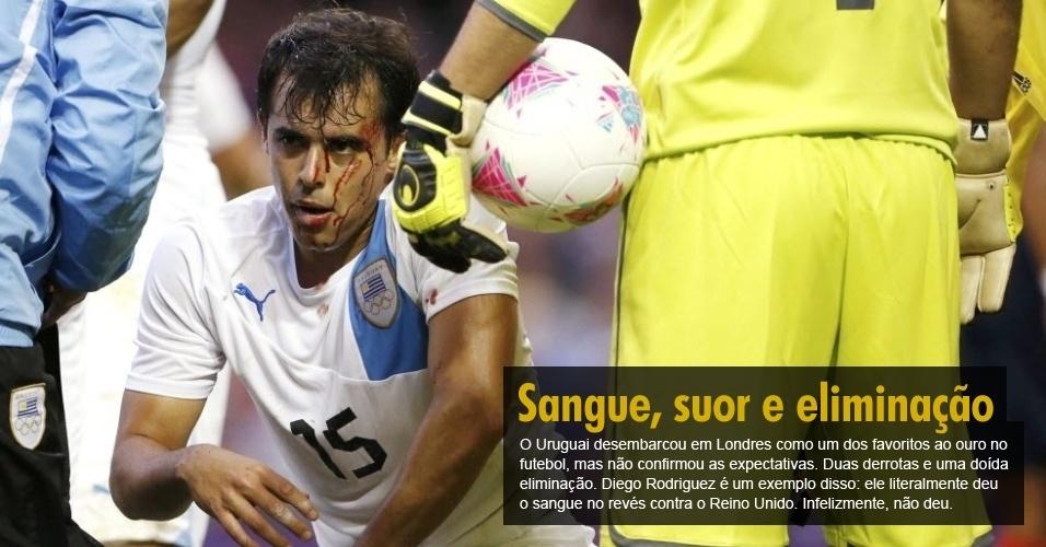 O Uruguai desembarcou em Londres como um dos favoritos ao ouro no futebol, mas não confirmou as expectativas. Duas derrotas e uma doída eliminação. Diego Rodriguez é um exemplo disso: ele literalmente deu o sangue no revés contra o Reino Unido. Infelizmente, não deu.